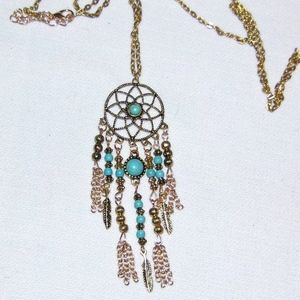 Dreamcatcher Necklace Faux Gold and Turquoise NIB